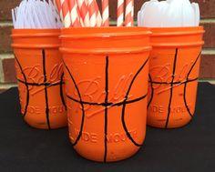 Hand Painted Basketball Birthday Decor. by MonisMasonCreations