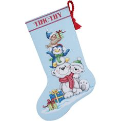 """Stack Of Critters Stocking Counted Cross Stitch Kit-16"""" Long 14 Count"""