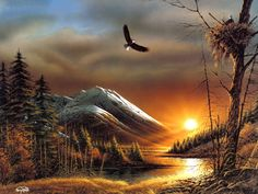 "Terry Redlin Outdoor Themes Art Painting ~ ""Flying Free"" {this image cropped by source site-colors aren't as accurate as original either}"