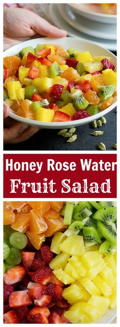 This Honey Rose Water Fruit Salad will make your days colorful and delicious. Make a big batch of these for your party and enjoy the delicious honey rose water flavor. It's like eating spring!