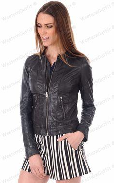 Womens Genuine Lambskin Leather Motorcycle Slim fit Designer Biker Jacket NY188 #Handmade #Motorcycle #Outdoor