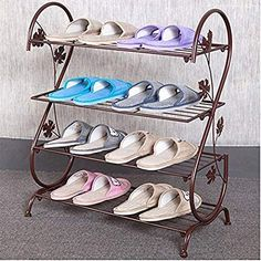 AISHN Continental Iron Multi-layer Simple Shoe Rack Storage Metal Small Four Quarters Shoe Stand (Bronze) ** Awesome product. Click the image : Garden cart Iron Furniture, Steel Furniture, Home Decor Furniture, Furniture Design, Shoe Rack Living Room, Living Room Storage, Balcony Grill Design, Window Grill Design, Metal Shoe Rack