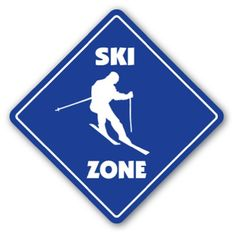 PRINT & PLACE AT FRONT DOOR SKI ZONE Sign xing gift novelty water snow skier skiing s...