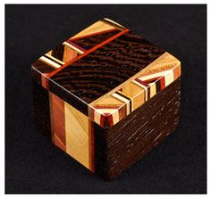 geometric patterened wooden box