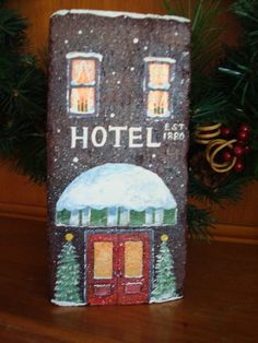 old hotel Items similar to An old hotel painted on a 100 year old brick on Etsy Painted Bricks Crafts, Brick Crafts, Painted Pavers, Brick Projects, Stone Crafts, Painted Rocks, Hand Painted, Cement Pavers, Brick And Stone