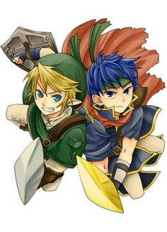 blonde hair blue eyes blue hair cape earrings fire emblem fire emblem: souen no kiseki grin hat headband highres ike jewelry left-handed link male focus multiple boys nintendo pointy ears shield smile super smash bros. sword the legend of zelda the l Super Smash Bros Brawl, Nintendo, Anime Rules, Link Art, Twilight Princess, Manga Comics, Fire Emblem, Game Character, Legend Of Zelda