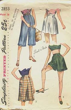 """SI28534 2 sizes to choose from 26"""" or 30"""" waist - I would love to be able to sew a pair of jean capris of the 40's era."""