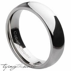 Mens Cobalt Wedding Bands Gloss Chrome by TyingTheKnotbyClaude
