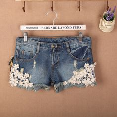 denim shorts with inlaid doilies - Google Search