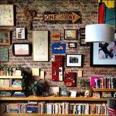 stories on a brick wall. Brick In The Wall, Brick Wall, Decorating Tips, Interior Decorating, Interior Design, Guitar Room, Sweet Home Alabama, Bohemian Interior, Home Decor Inspiration