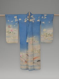 Summer Kimono with Carp, Water Lilies, and Morning Glories Period: Meiji period Date: ca. 1876 Culture: Japan Medium: Resist-dyed, painted, and embroidered silk gauze with plain-weave patterning Japanese Textiles, Japanese Kimono, Japanese Art, Japanese Design, Japanese Outfits, Japanese Fashion, Art Asiatique, Summer Kimono, Oriental