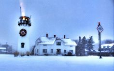 Christmas Lighthouse at Chatham, Cape Cod.  © Christopher Seufert Photography  Order the poster at http://www.CapeCodPoster.com