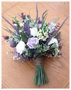 Lilac,lavender and ivory 'boho' style brides artificial wedding bouquet on Etsy, £80.00