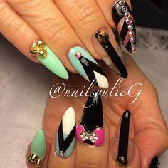 Aqua Mint Black and White Bling Almond Stiletto Nails @nailsyulieg