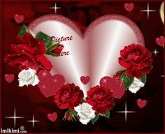 imikimi hearts and roses gif | Hearts and Roses Valentine Frame