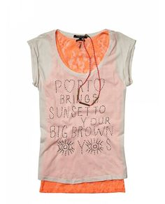Type theme tee with lace tank - T-shirts & Tops - Official Scotch & Soda Online Fashion & Apparel Shops