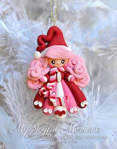 Handcrafted Polymer Clay Snow Girl Ornament by MyJoyfulMoments