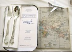 Travel inspired place setting.