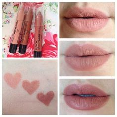 #nyx simply nude lip creams in SN04 Fairest (top right), SN02 Exposed (center), and SN06 Sable (bottom right). They have that weird scent that the Round lipsticks have, but other than that these are awesome! I love the shade range! I want to try some reds and vamps too!