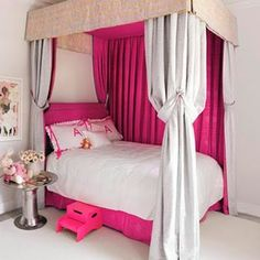 For small bedrooms or a bed that needs to be up against a wall - such a clever decorating idea, that is so simple.