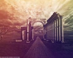 Скачать обои глушь, пустота, ветер, деревья, The Ruins, руины, колонны, цвета, птицы, небо, раздел фантастика в разрешении 1280x1024