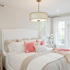 White Wingback Bed in this luxe bedroom decorated with tan on white and a splash of coral. Pink Bedroom Design, Bedroom Decor, Pink Bedroom Decor, Chic Bedroom Inspiration, Gold Bedroom, Shabby Chic Bedrooms, Coral Bedroom, Sophisticated Bedroom, Home Bedroom