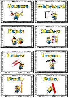 Minion Theme Classroom Labels