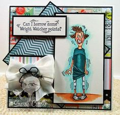 Nervous-Sylvia-Woman & words sold separately.  Made by: Art Impressions  Rubber Stamps.You can purchase these in my ebay store. Click on picture & it will take you into this listing. Use my search engine to find other items . My ebay Store is: Pat's Rubber Stamps & Scrapbooks or call me 423-357-4334  with order. We take PayPal. You get free shipping with $30.00 or more