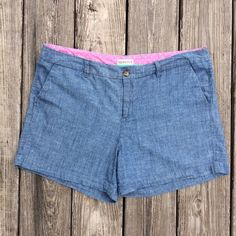"Merona shorts 4.5"" inseam For sale is a pair of very gently used Merona shorts.  Size 12 and 100% cotton.  They have the look of denim but are soft like cotton!  Cute pink trim detail inside.  2 front slip pockets and 2 back pockets (that are still sewed shut so you can choose to keep closed or open them!).   Belt loops and tortoise button.  4 1/2"" inseam.  Comes from smoke free and pet free home.  Thanks for looking! Merona Shorts"