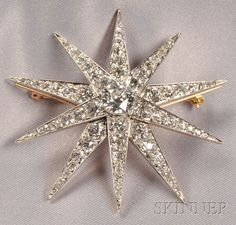 Edwardian Diamond Starburst Pendant/Brooch, Pickslay & Co., centering an old European-cut diamond weighing approx. 1.70 cts., and further set with old European and old single-cut diamonds, approx. total wt. 8.80 cts., platinum-topped 14kt gold mount, lg. 2 1/4 in., signed.