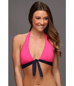 Tommy Bahama Tommy Bahama  Deck Piping Halter Bikini Top with Shirred Band and Tie Pink MartiniMare Womens Swimwear for 29.99 at Im in!