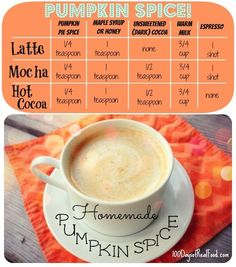 Real food pumpkin lattes -- no syrups or artificial anything.