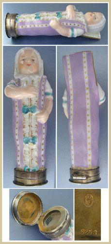 Antique Royal Copenhagen Porcelain Swaddled Baby Needle Case; Circa 1880