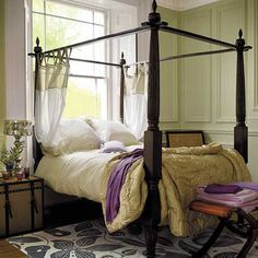 gorgeous bedroom with four poster bed Pale Green Bedrooms, Bedroom Green, Dream Bedroom, Home Bedroom, Bedroom Decor, Bedroom Ideas, Master Bedroom, Master Suite, Canopy Bedroom