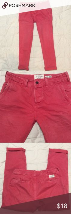 ABERCROMBIE & Fitch Distressed Denim Cool coral fly button jeans! Size 30 x 30 Abercrombie & Fitch Jeans