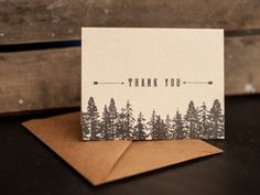 Rustic  Wedding Thank You Cards Trees Forest thank by inoroutmedia, $65.00