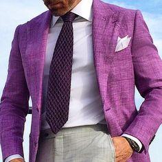 How can I purchase this purple men blazer Mens Fashion Suits, Mens Suits, Fashion Menswear, Men's Fashion, Purple Blazers, Grey Pants, Gray Jacket, Suit And Tie, Stylish Men