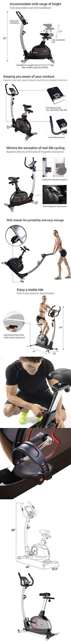 Fitleader Upright Bike Indoor Cardio Bike Magnetic Resistance Stationary Cycling Machine