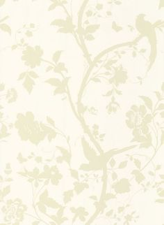 Oriental Garden Gold Off White (3468784) - Laura Ashley Wallpapers - An elegant, beige trailing floral design featuring birds on a dark cream background. Please request sample for true colour match.