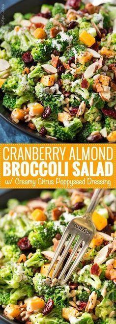Healthy Salad Recipes: Cranberry-Almond-Broccoli Salad with Citrus-Poppy-Dre . - Healthy Salad Recipes: Cranberry-Almond-Broccoli Salad with Citrus-Poppy-Dre … – Healthy Meals - Healthy Salad Recipes, Vegetarian Recipes, Cooking Recipes, Vegetarian Broccoli Salad, Healthy Broccoli Salad, Salad With Broccoli, Broccoli Meals, Vegan Vegetarian, Broccoli Slaw Recipes
