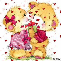 """Photo from album """"Иллюстрации"""" on Yandex. Love Heart Images, Love You Images, Beautiful Images, Mickey Mouse Cartoon, Cute Cartoon, Love Pic Image, Sweet Hug, Cute Kids Pics, Good Day Quotes"""