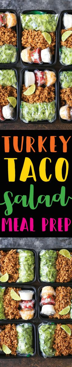 Turkey Taco Salad Meal Prep 2019 Turkey Taco Salad Meal Prep A much HEALTHIER take on Taco Tuesdays except you are meal prepped for the entire week! Less calories and cheaper too! The post Turkey Taco Salad Meal Prep 2019 appeared first on Lunch Diy. Lunch Meal Prep, Healthy Meal Prep, Healthy Snacks, Healthy Eating, Healthy Recipes, Clean Eating, Weekly Meal Prep, Keto Recipes, Simply Recipes