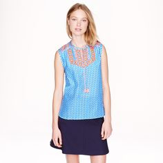 Embroidered tassel top in arrow print : sleeveless | J.Crew $79
