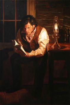 """""""Man reading by lamplight"""" (Jeffrey Hein)"""
