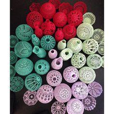 colorful doily art jars