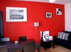 Living room ideas and colors on pinterest corner tv corner tv cabinets and - Salon rouge noir et blanc ...