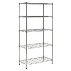 happimess Chrome Etta Inch Wide Steel Storage Rack with Five Tier Shelving and Non-Slip Feet Wire Storage Shelves, Steel Storage Rack, Wire Shelving Units, Laundry Storage, Industrial Shelving, Storage Spaces, Storage Ideas, Heavy Duty Shelving, Do It Yourself Organization