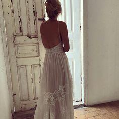 open back long train vintage lace wedding dress. Spaghetti straps - boho chic - sexy  Eva  by FLORA Spaghetti straps - sexy