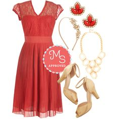In this outfit: Oui Go Together Dress, Pure Pizzazz Earrings in Red, Occasion to Remember Headband, Geometric Glint Necklace, Fine Dining Heel in Gold #lace #specialoccasion #homecoming #fancy #gold
