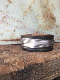 Super cool upcycled belt cuff meets Art Deco spoon handle. A perfect match. See out Facebook page or Generation Handmade to shop. #SteelShopDesigns https://www.facebook.com/SteelShopDesigns/